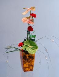 Váza MIMOSA 15 s gel. perličkami oranžová - 2